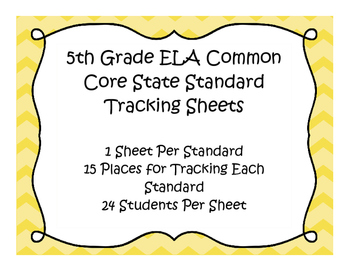 5th Grade ELA Common Core Standard Track Sheets