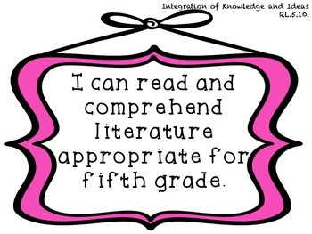 """5th Grade ELA Common Core Standards Framed """"I Can"""" Posters"""