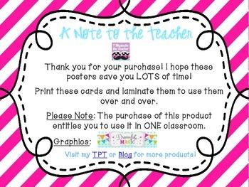 5th Grade ELA Common Core *Standards Posters* Diagonal Pink Stripes