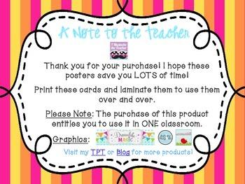 5th Grade ELA Common Core *Standards Posters* Melon Stripes