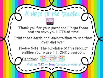 5th Grade ELA Common Core *Standards Posters* Neon Vertical Stripes
