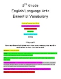 5th Grade ELA Common Core Vocabulary Study Guides & Assessments