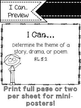 "5th Grade ELA ""I Can"" Statements (Kidoodles)"
