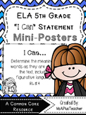 "5th Grade ELA ""I Can"" Statements (Melonheadz Thinkers)"
