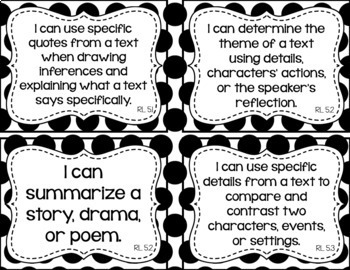 5th Grade ELA I Can Statements for CCSS Standards (Black Dots)