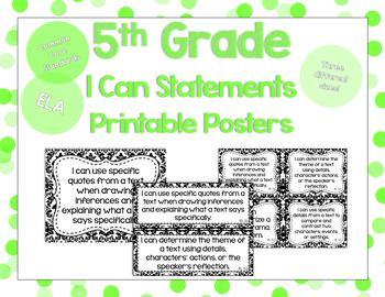 5th Grade ELA I Can Statements for CCSS Standards (Damask)