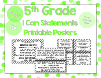 5th Grade ELA I Can Statements for CCSS Standards (Gray Stripes)