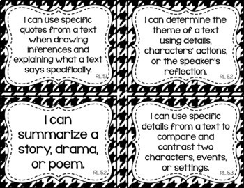 5th Grade ELA I Can Statements for CCSS Standards (Houndstooth)