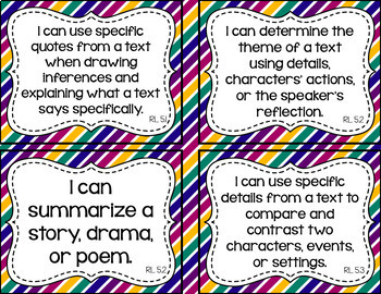 5th Grade ELA I Can Statements for CCSS Standards (Jewel Stripes)
