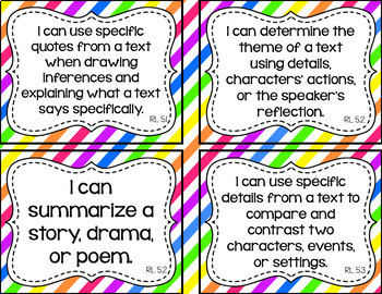 5th Grade ELA I Can Statements for CCSS Standards (Rainbow Stripes)