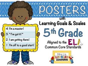 5th Grade ELA Posters (5RL1-2, RI1-2) with Marzano Scales - FREE!