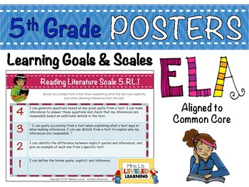 5th Grade ELA Posters with Learning Goals and Scales - Aligned to Common Core