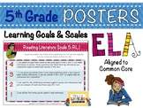 5th Grade ELA Posters with Marzano Learning Goals and Scales - Common Core
