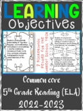 5th Grade ELA Reading COMMON CORE Learning Objective Cards | Color and B&W