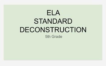 5th Grade ELA Standard Planning Template