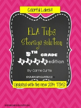 5th Grade ELA TEKS  Colorful Organization Labels *updated!