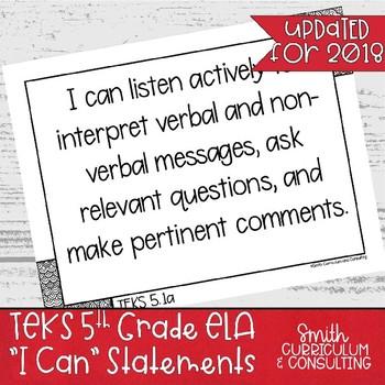 """Fifth Grade ELA TEKS """"I Can"""" Statements"""