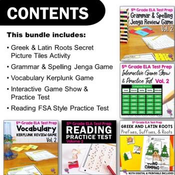5th Grade ELA Test Prep Bundle VOLUME 2: 4 Games & 1 Reading Practice Test FSA