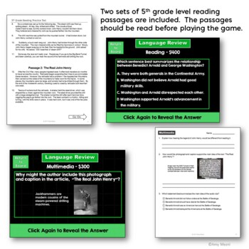 5th Grade ELA Test Prep Set: Paired Reading Passages, Game Show, & Review Sheets