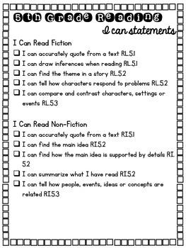 5th Grade ELA & Writing CCSS Checklist (I Can Statements)