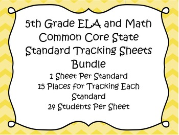 5th Grade ELA and Math Common Core Standard Track Sheets Bundle