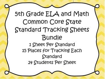 5th Grade ELA and Math Common Core Standard Track Sheets Bundle