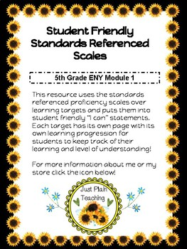 """5th Grade ENY Module 1 """"I Can"""" Math Proficiency Scales"""
