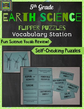 5th Grade Earth Science STAAR Puzzles-Alternative Energy, Fossils, Rotation