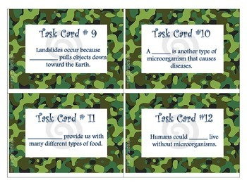Earth Science Task Cards Camo 5th Grade