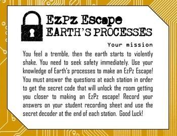 5th Grade Earth's Processes Science Escape Room