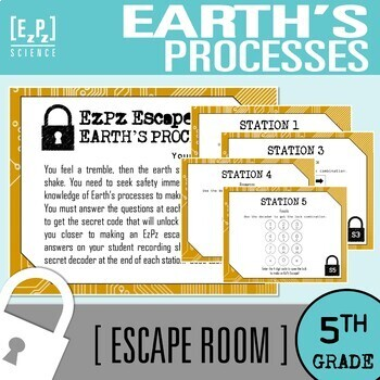 5th Grade Earth's Processes Science Escape Room