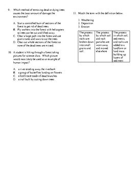 5th Grade Earth's Surface Unit Test