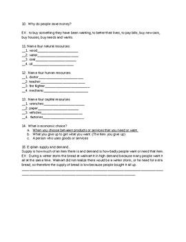 5th Grade Economic Test with Answer Key