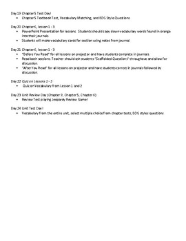 5th Grade Ecosystems/Landforms Unit Pacing Guide (Scott Foresman Ch 5, 6, 9)