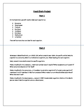 5th Grade Ecosystems and Genetics Food Chain Project and Unit Study Guide