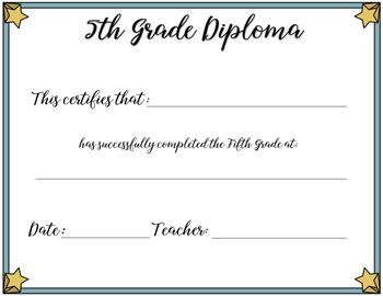 5th Grade Editable Diplomas Graduation Printable FREE