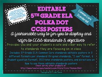 5th Grade Editable ELA Common Core Polka Dot Standards Pos