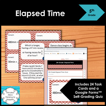 5th Grade Elapsed Time- Math Task Cards