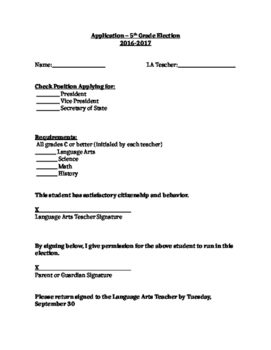 5th Grade Elections Application Form