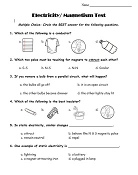 5th Grade: Electricity & Magnetism Unit Test
