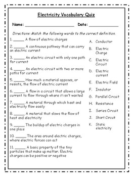 5th Grade Electricity Vocabulary Packet