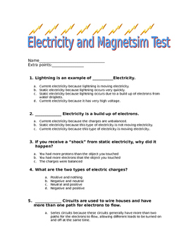 5th Grade Electricity and Magnetism Summative Assessment