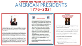 U.S. Presidents - A Common Core Aligned Full Day for your Sub