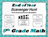 5th Grade End Of Year Math Scavenger Hunt - With Student Reflection Questions