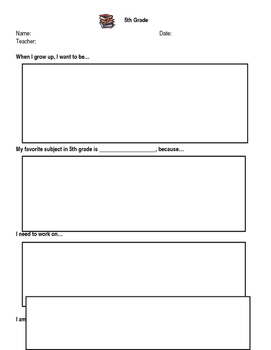 5th Grade End of School Year Reflection Sheet
