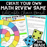 5th Grade End of Year Game Choice Board