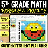5th Grade End of Year Math Color-by-Number | Google Classroom Distance Learning