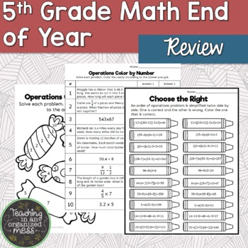 6th Grade Back to School Review Middle School Math