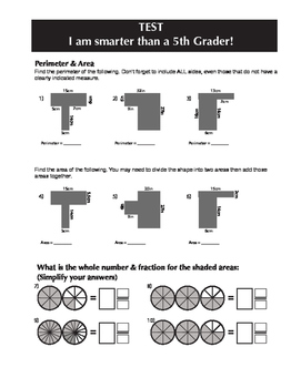 5th Grade End of Year Test
