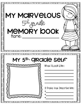 5th Grade End of the Year Memory Booklet